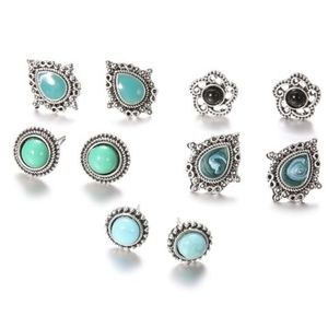 5 Pair Antiqued Turquoise & Black Silver Earrings